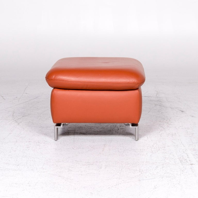 Ewald Schillig Designer Leather Stool Orange Function Storage Space For Sale 3