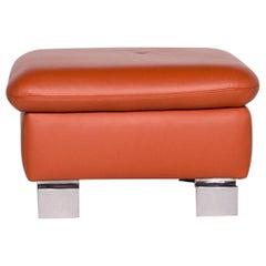 Ewald Schillig Designer Leather Stool Orange Function Storage Space