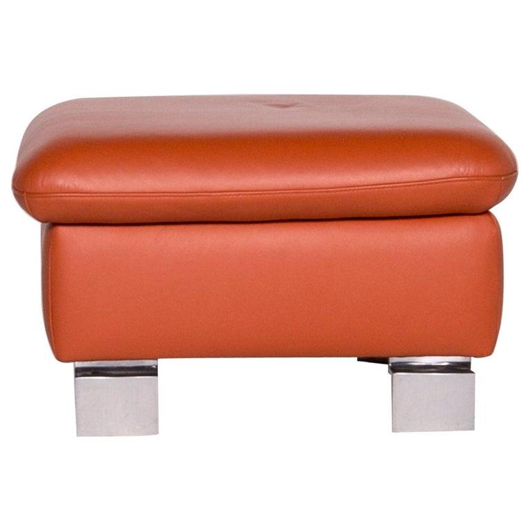 Ewald Schillig Designer Leather Stool Orange Function Storage Space For Sale