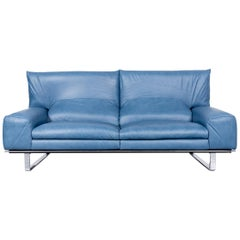 Ewald Schillig Designer Sofa Leather Blue Three-Seat Couch Modern