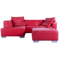 Ewald Schillig Designer Sofa Set Red Leather Couch Include Footrest Pouf