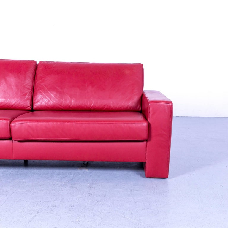 Ewald Schillig Designer Three-Seat Sofa Red Leather Couch In Good Condition For Sale In Cologne, DE