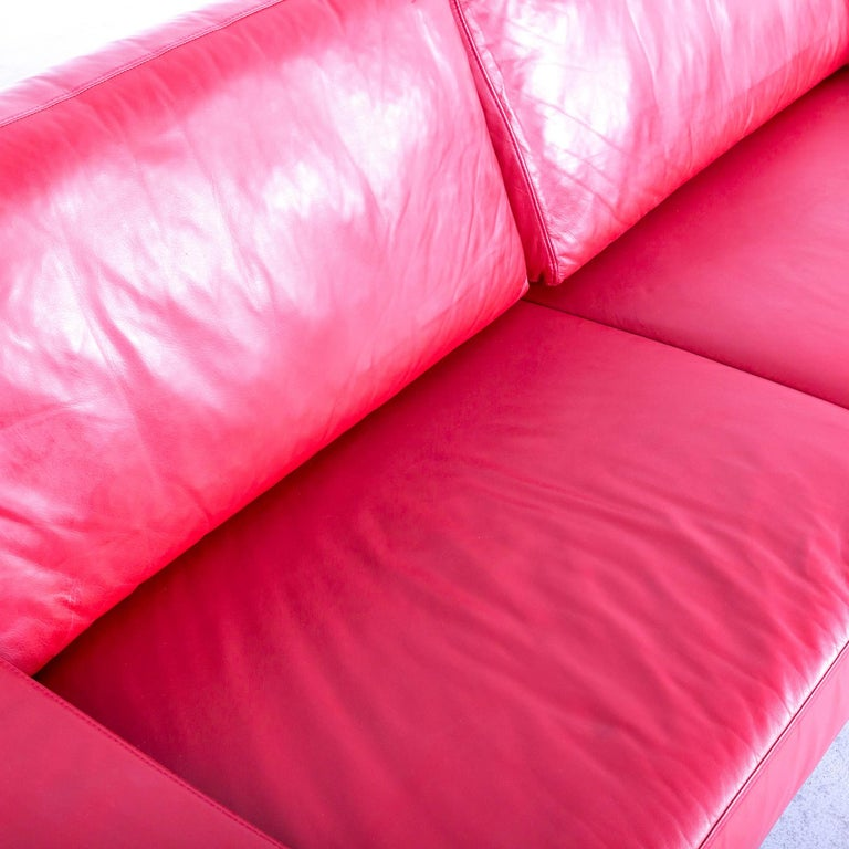 Ewald Schillig Designer Three-Seat Sofa Red Leather Couch For Sale 2