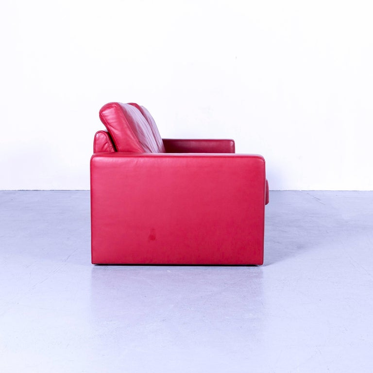 Ewald Schillig Designer Three-Seat Sofa Red Leather Couch For Sale 3