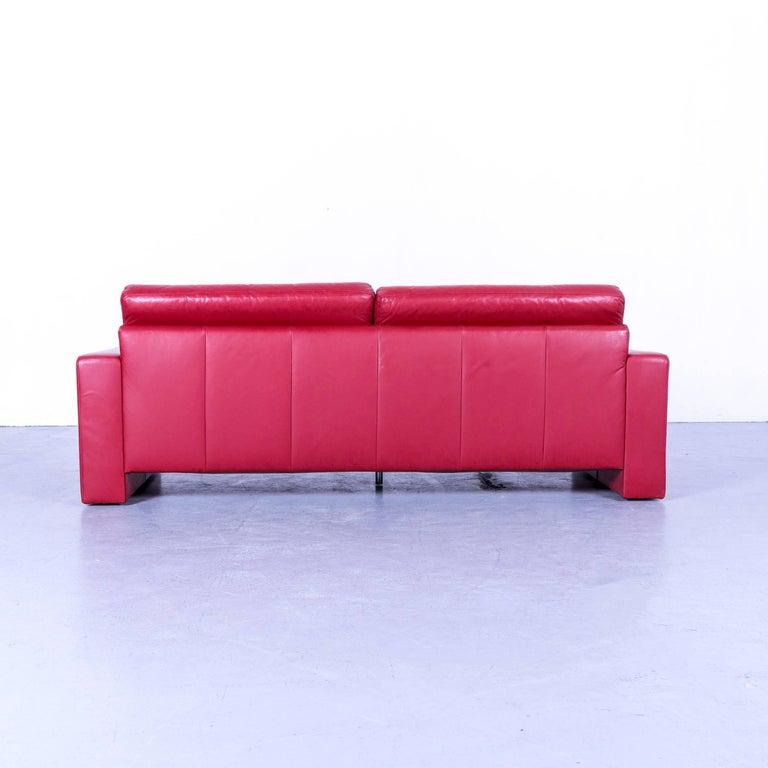 Ewald Schillig Designer Three-Seat Sofa Red Leather Couch For Sale 4