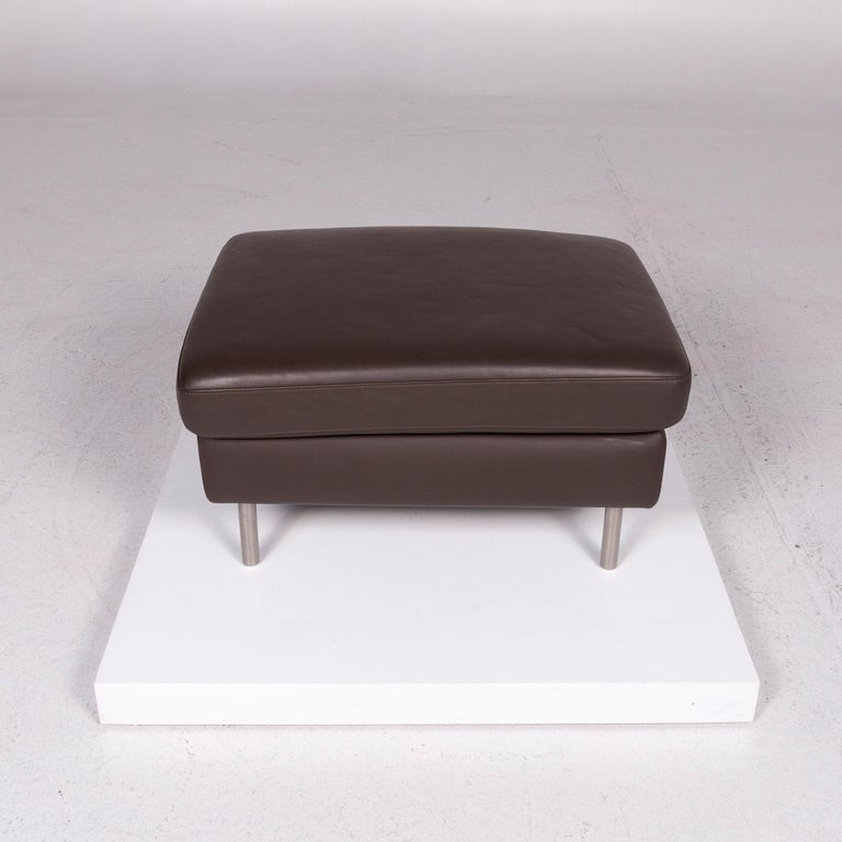 Ewald Schillig Domino Leather Stool Brown For Sale At 1stdibs