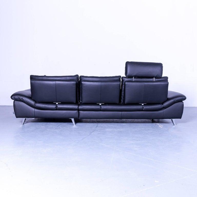 ewald schillig dragon designer corner sofa black leather. Black Bedroom Furniture Sets. Home Design Ideas