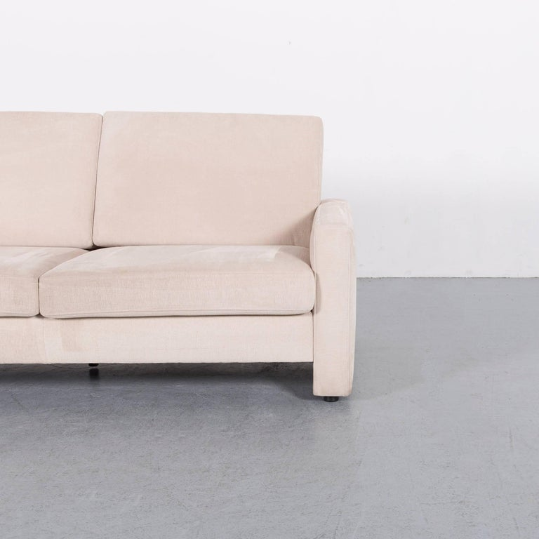 German Ewald Schillig Fabric Sofa Off-White Two-Seat Couch