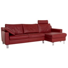 Ewald Schillig Flex Plus Dark Red Leather Corner Sofa