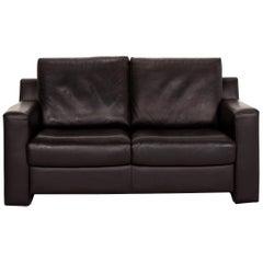 Ewald Schillig Flex Plus Leather Sofa Dark Brown Black Brown Two-Seat Couch