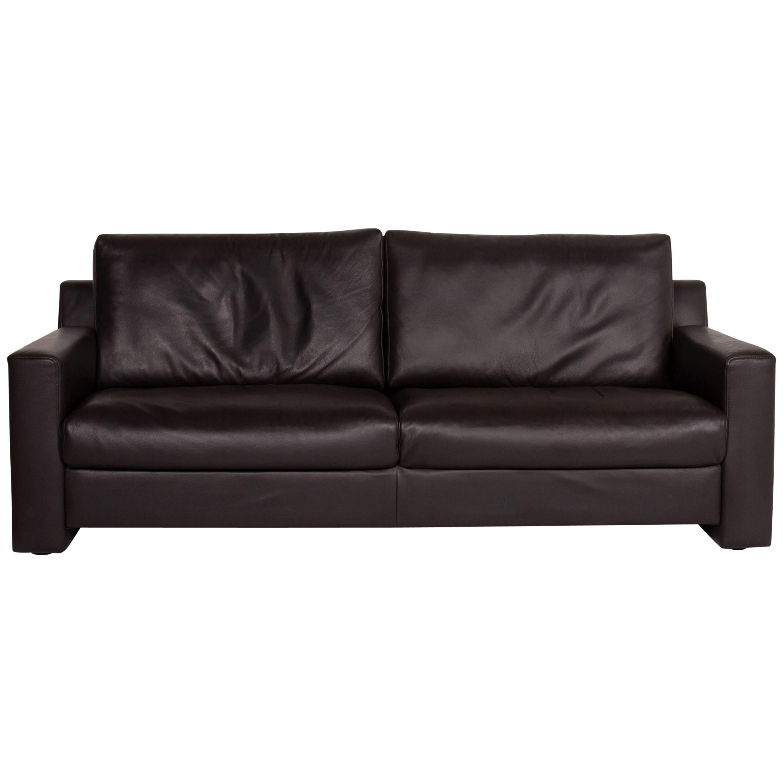 Ewald Schillig Flex Plus Leather Sofa Dark Brown Two-Seat Couch