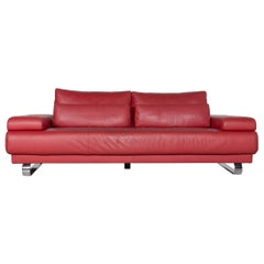 Ewald Schillig Harry Designer Sofa Leather Red Three-Seat Couch