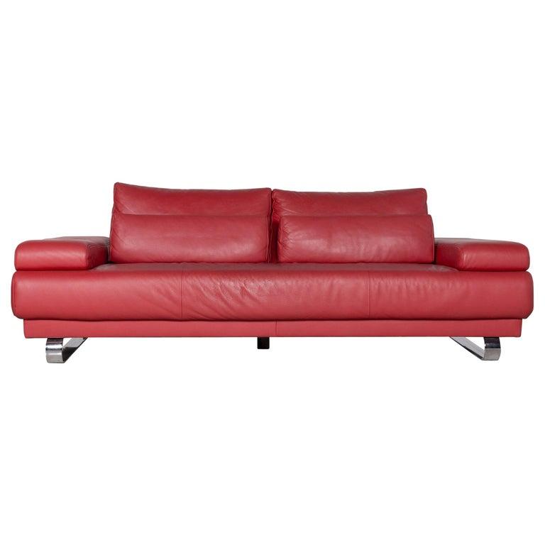 Ewald Schillig Harry Designer Sofa Leather Red Three-Seat ...