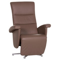 Ewald Schillig Leather Armchair Brown Relaxation Function