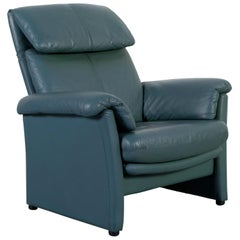 Ewald Schillig Leather Armchair in Green Blue with Functions