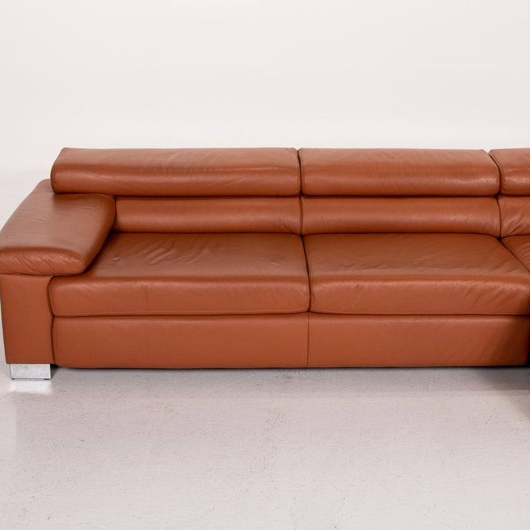 Ewald Schillig Leather Corner Sofa Brown Cognac Sofa Function Couch 4