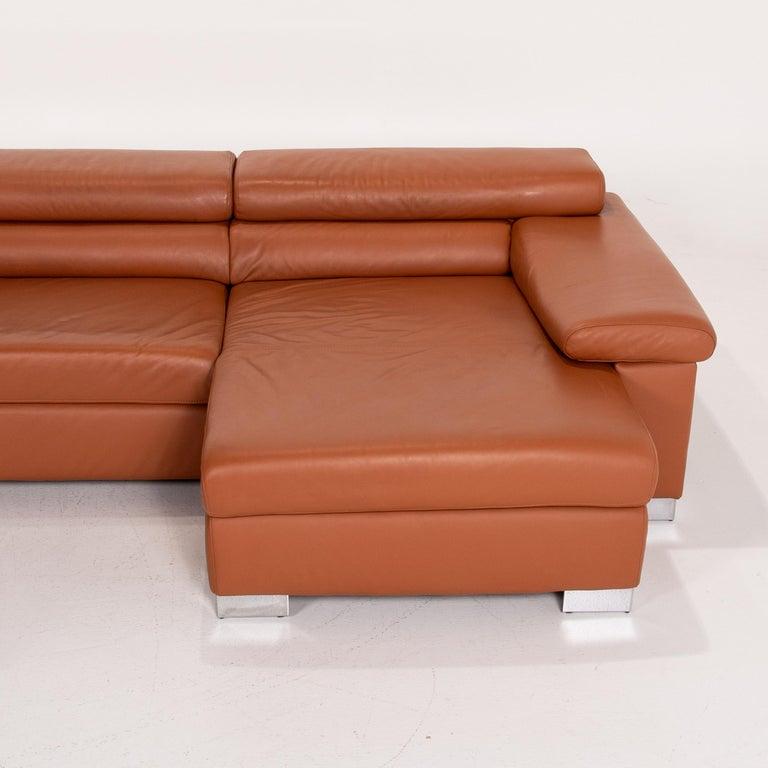Ewald Schillig Leather Corner Sofa Brown Cognac Sofa Function Couch 5