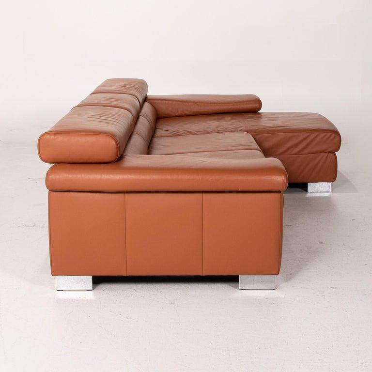 Ewald Schillig Leather Corner Sofa Brown Cognac Sofa Function Couch 6