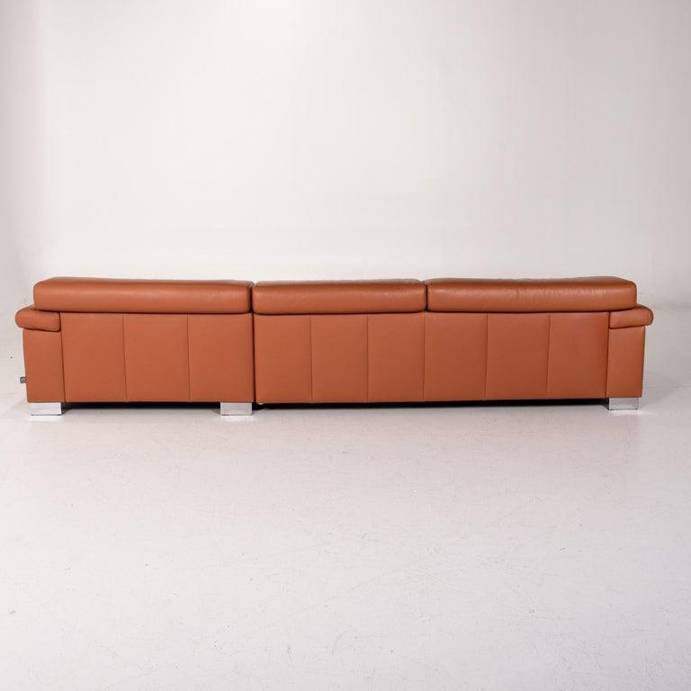 Ewald Schillig Leather Corner Sofa Brown Cognac Sofa Function Couch 7