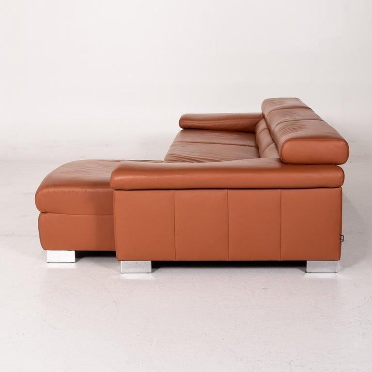 Ewald Schillig Leather Corner Sofa Brown Cognac Sofa Function Couch 8