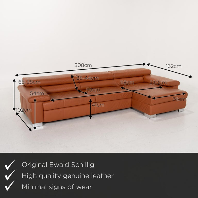 We present to you an Ewald Schillig leather corner sofa brown cognac sofa function couch.      Product measurements in centimeters:    Depth 102 Width 162 Height 65 Seat height 41 Rest height 54 Seat depth 59 Seat width 233 Back height