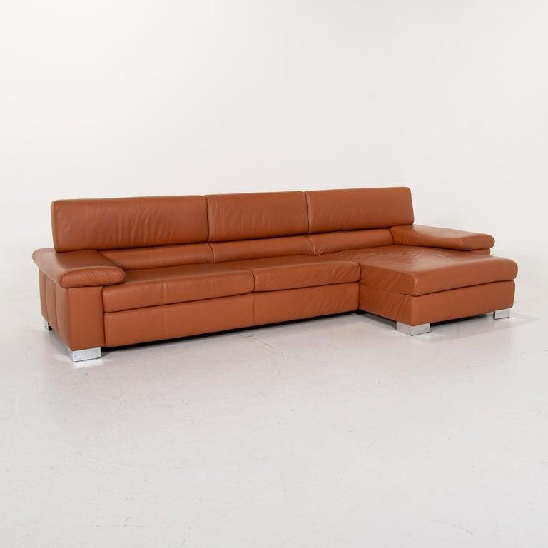 Modern Ewald Schillig Leather Corner Sofa Brown Cognac Sofa Function Couch