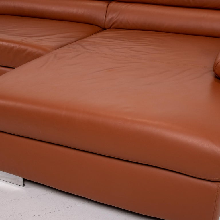 German Ewald Schillig Leather Corner Sofa Brown Cognac Sofa Function Couch