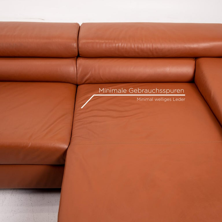 Ewald Schillig Leather Corner Sofa Brown Cognac Sofa Function Couch In Good Condition In Cologne, DE