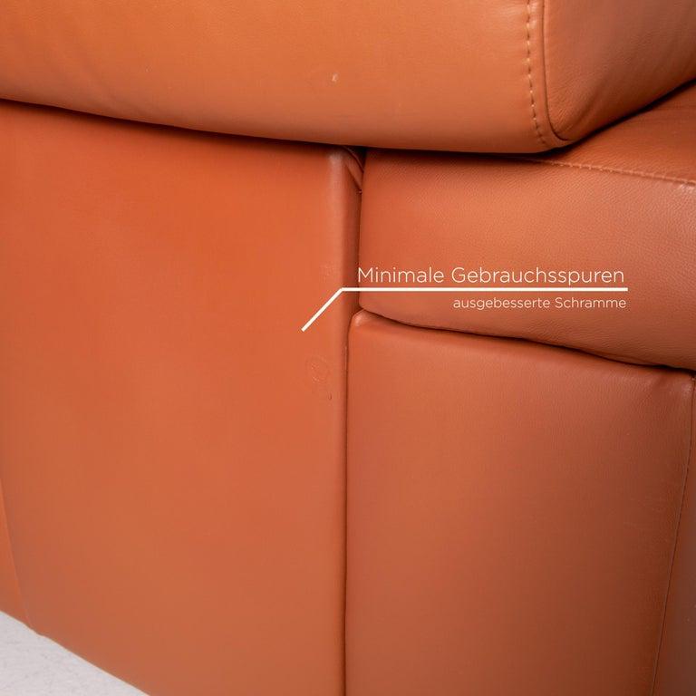 Contemporary Ewald Schillig Leather Corner Sofa Brown Cognac Sofa Function Couch