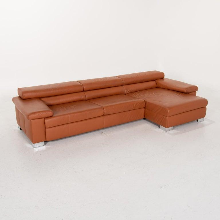 Ewald Schillig Leather Corner Sofa Brown Cognac Sofa Function Couch 3