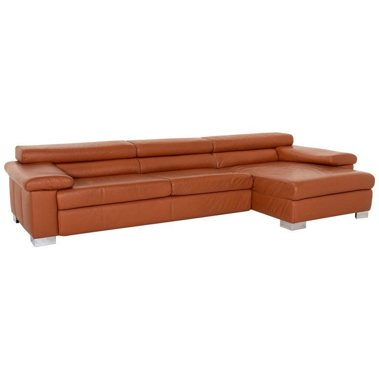 Ewald Schillig Leather Corner Sofa Brown Cognac Sofa Function Couch