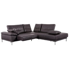 Ewald Schillig Leather Corner-Sofa Brown Couch