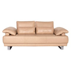 Ewald Schillig Leather Sofa Beige Two-Seater Function Couch