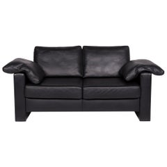 Ewald Schillig Leather Sofa Black Two-Seat Couch