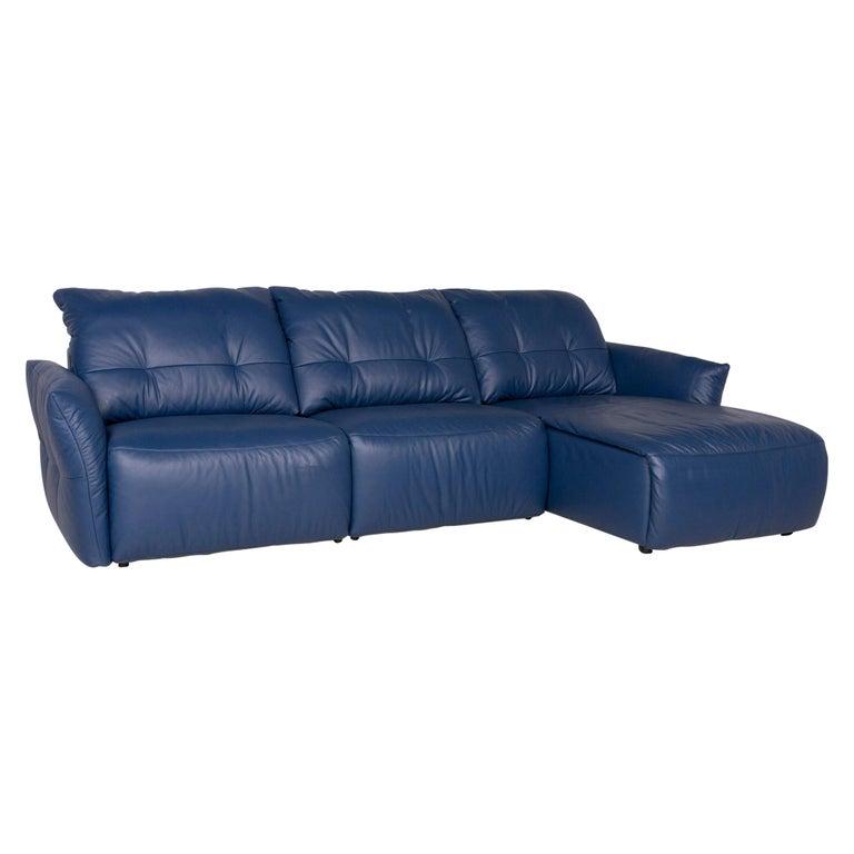 Ewald Schillig Leather Sofa Blue Corner Sofa