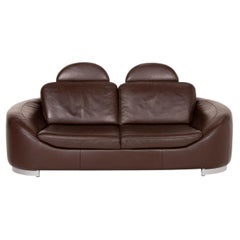 Ewald Schillig Leather Sofa Brown Dark Brown Two-Seater Couch