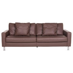 Ewald Schillig Leather Sofa Brown Three-Seat Couch