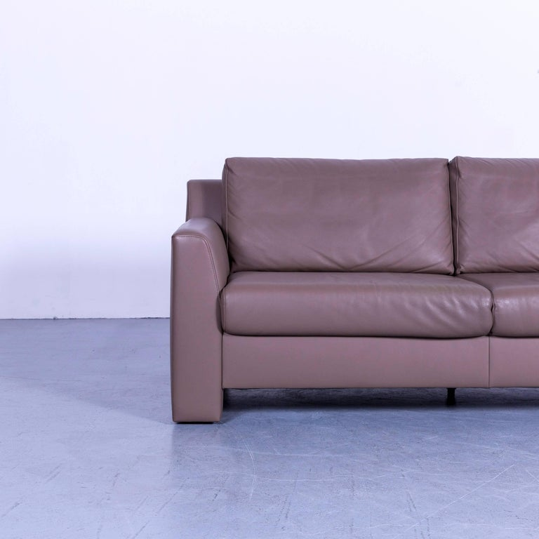 German Ewald Schillig Leather Sofa Brown Three-Seat