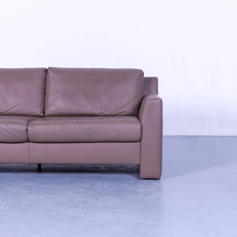 Ewald Schillig Leather Sofa Brown Three-Seat In Good Condition In Cologne, DE