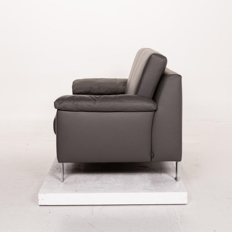 Ewald Schillig Leather Sofa Gray Three-Seat Couch 4