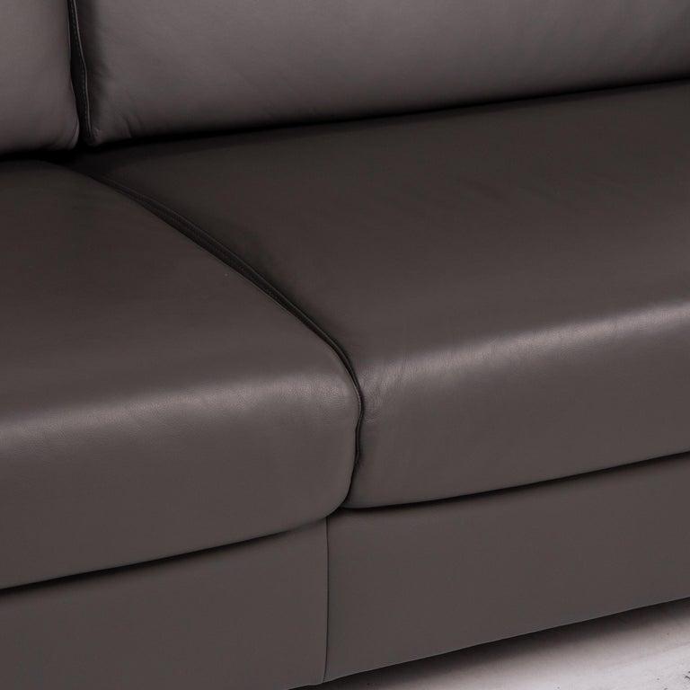 Modern Ewald Schillig Leather Sofa Gray Three-Seat Couch