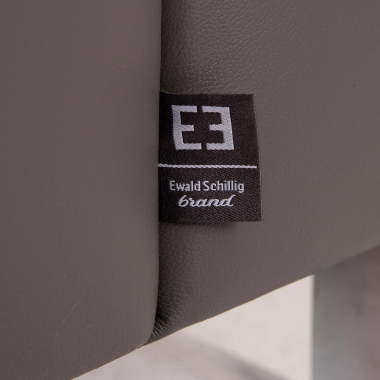 Ewald Schillig Leather Sofa Gray Three-Seat Couch In Excellent Condition In Cologne, DE