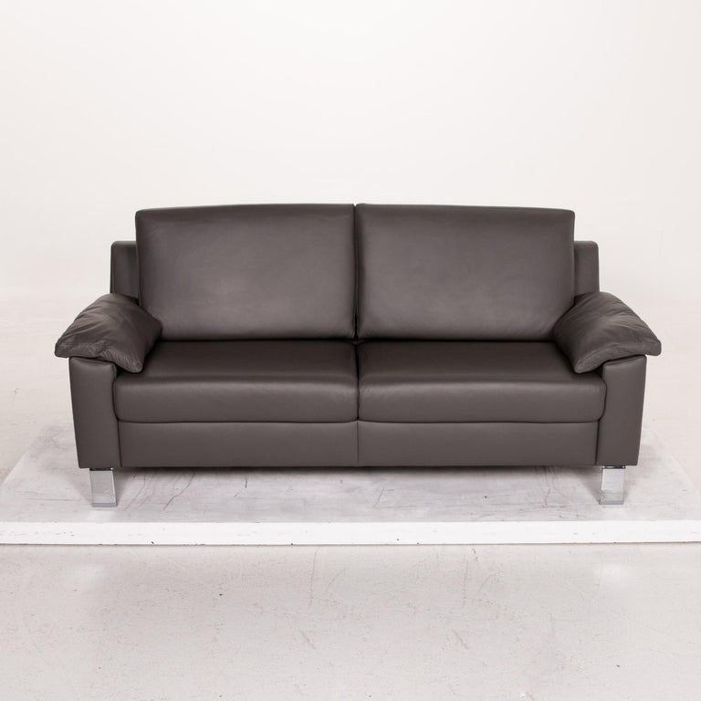 Ewald Schillig Leather Sofa Gray Three-Seat Couch 1