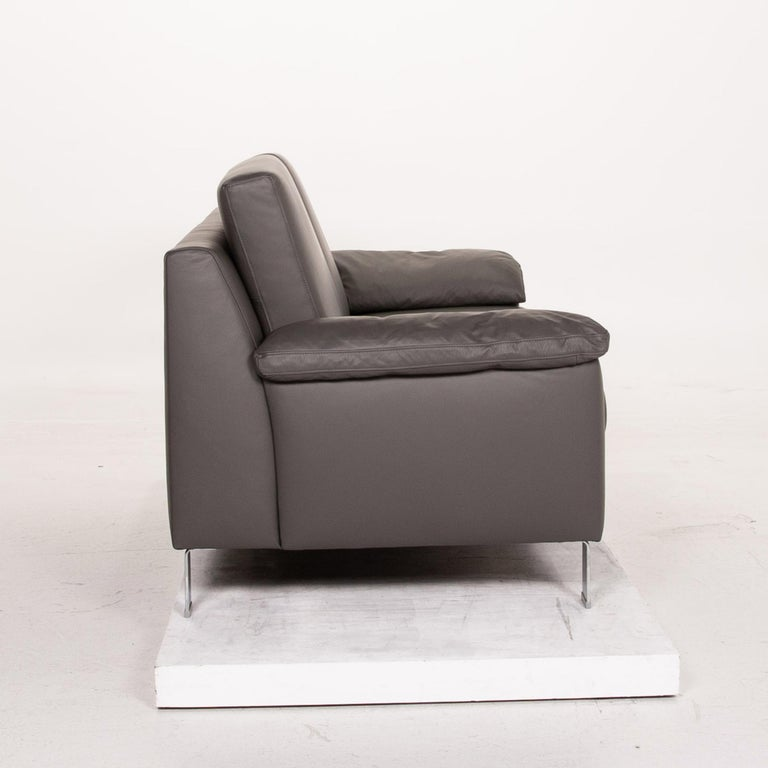 Ewald Schillig Leather Sofa Gray Three-Seat Couch 2