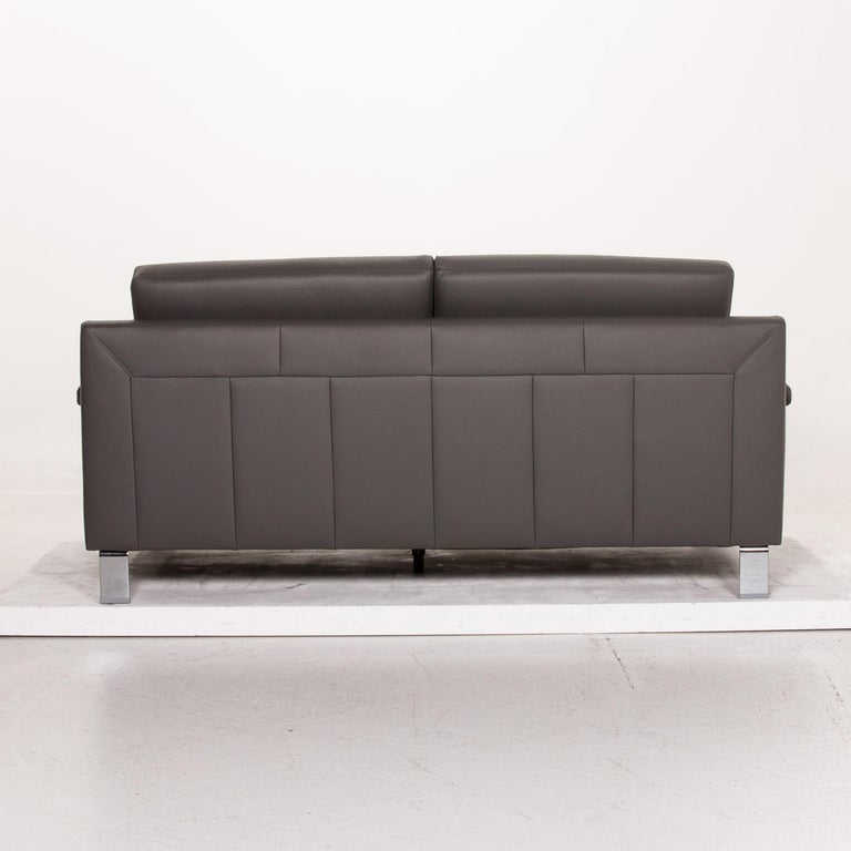 Ewald Schillig Leather Sofa Gray Three-Seat Couch 3