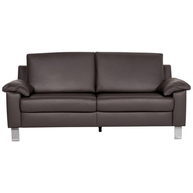 Ewald Schillig Leather Sofa Gray Three-Seat Couch