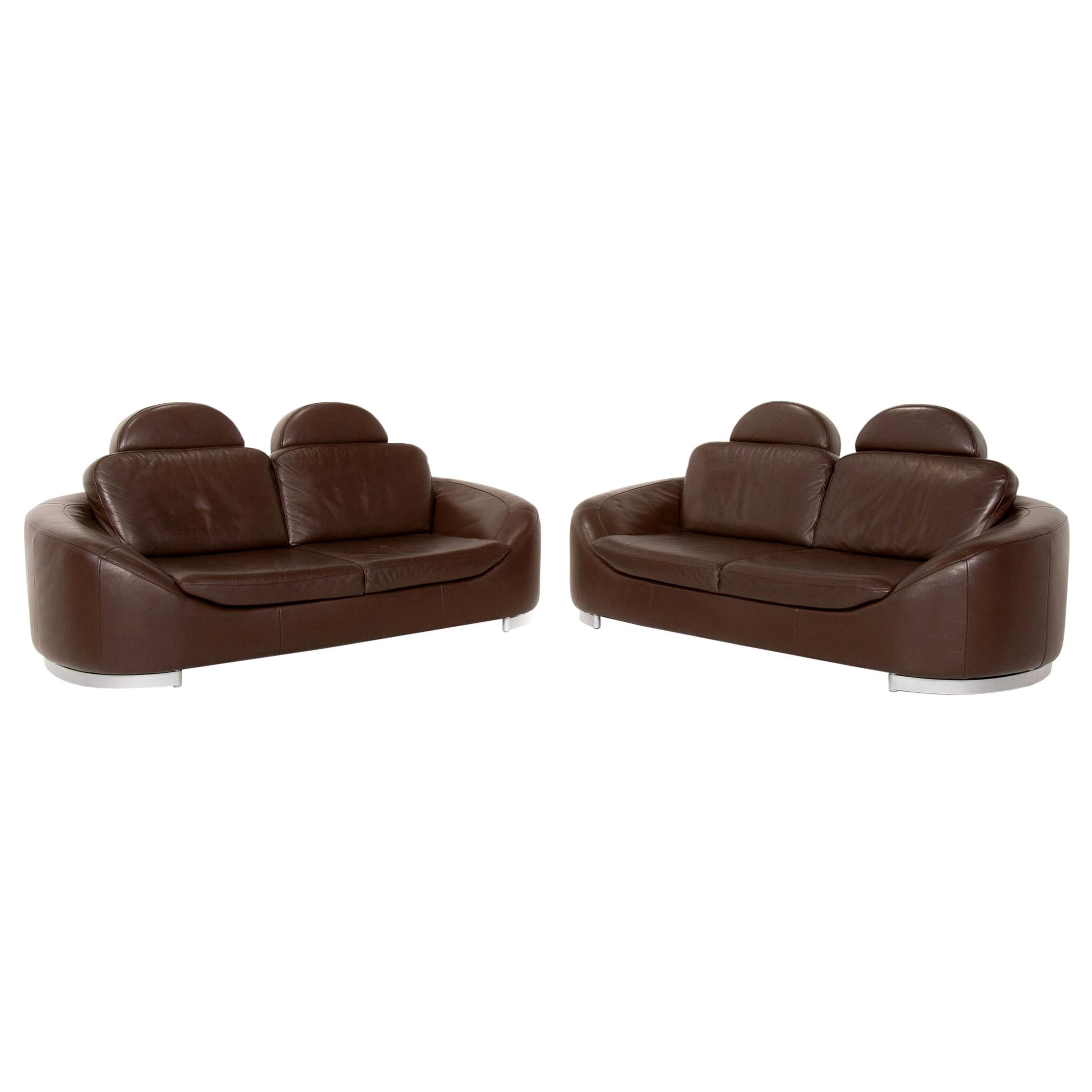 Ewald Schillig Leather Sofa Set Brown Dark Brown 2x Two-Seater