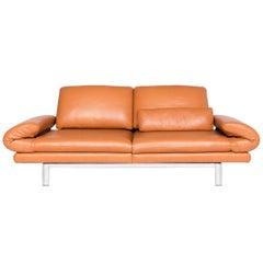 Ewald Schillig Quinn Designer Leather Sofa Orange Cognac Genuine Leather