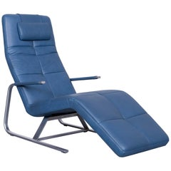 Ewald Schillig Vita Designer Couch Leather Blue One-Seat Function Modern