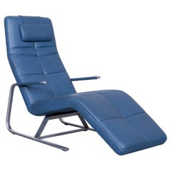 Ewald Schillig VITA Designer Leather Lounger Blue Genuine Leather Single-Seat